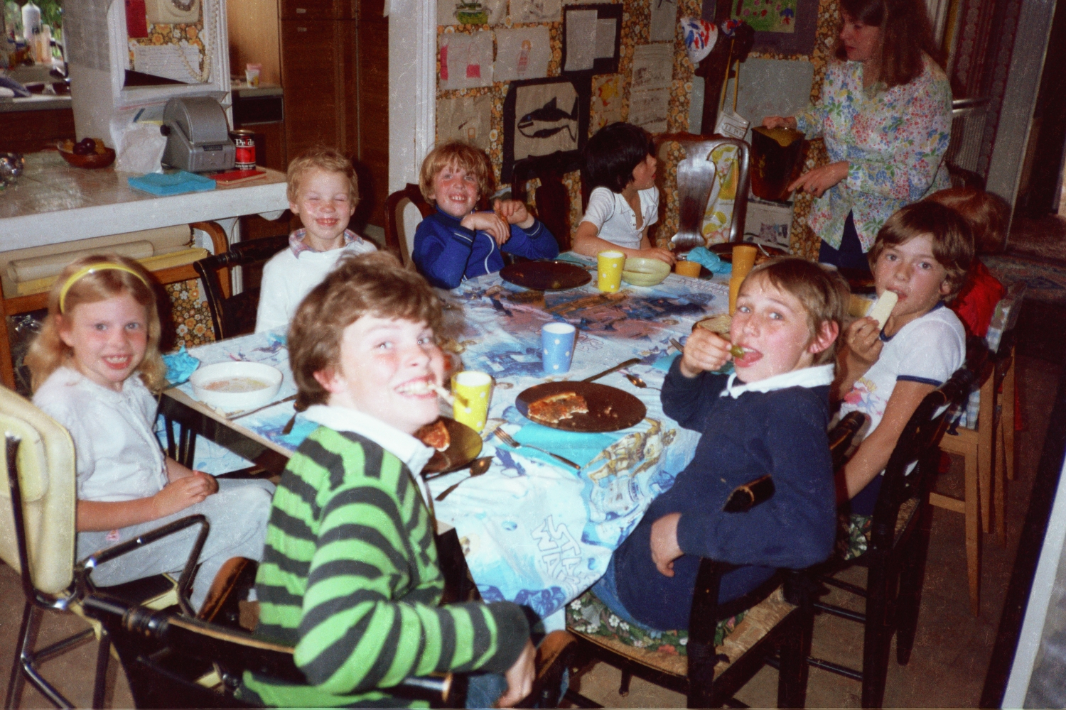 Russel Shearer and Andrew Hunt at the table in Woodford in 1980s
