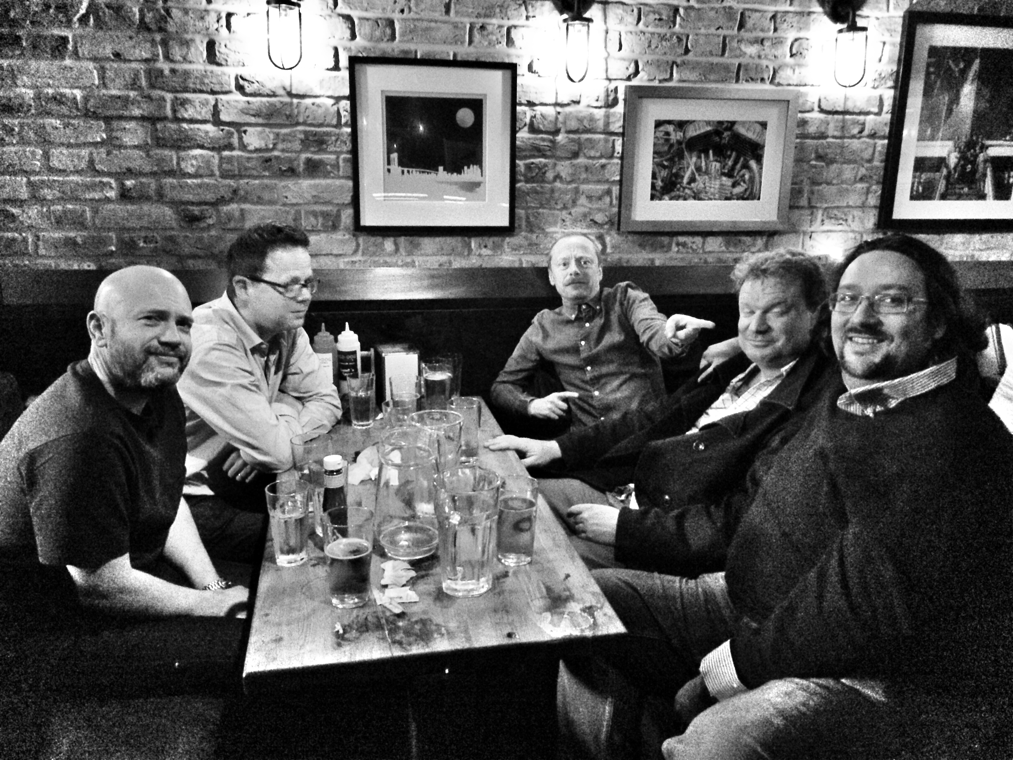 Ian Guest, Andy Matthews, Steve Andrews, James Magnus and Adam Drake at the Red Dog Saloon, Hoxton, London