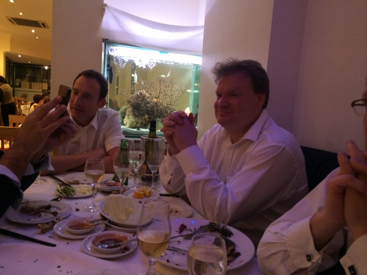 James Magnus, Steve Andrews, at Chinese in Woodford.