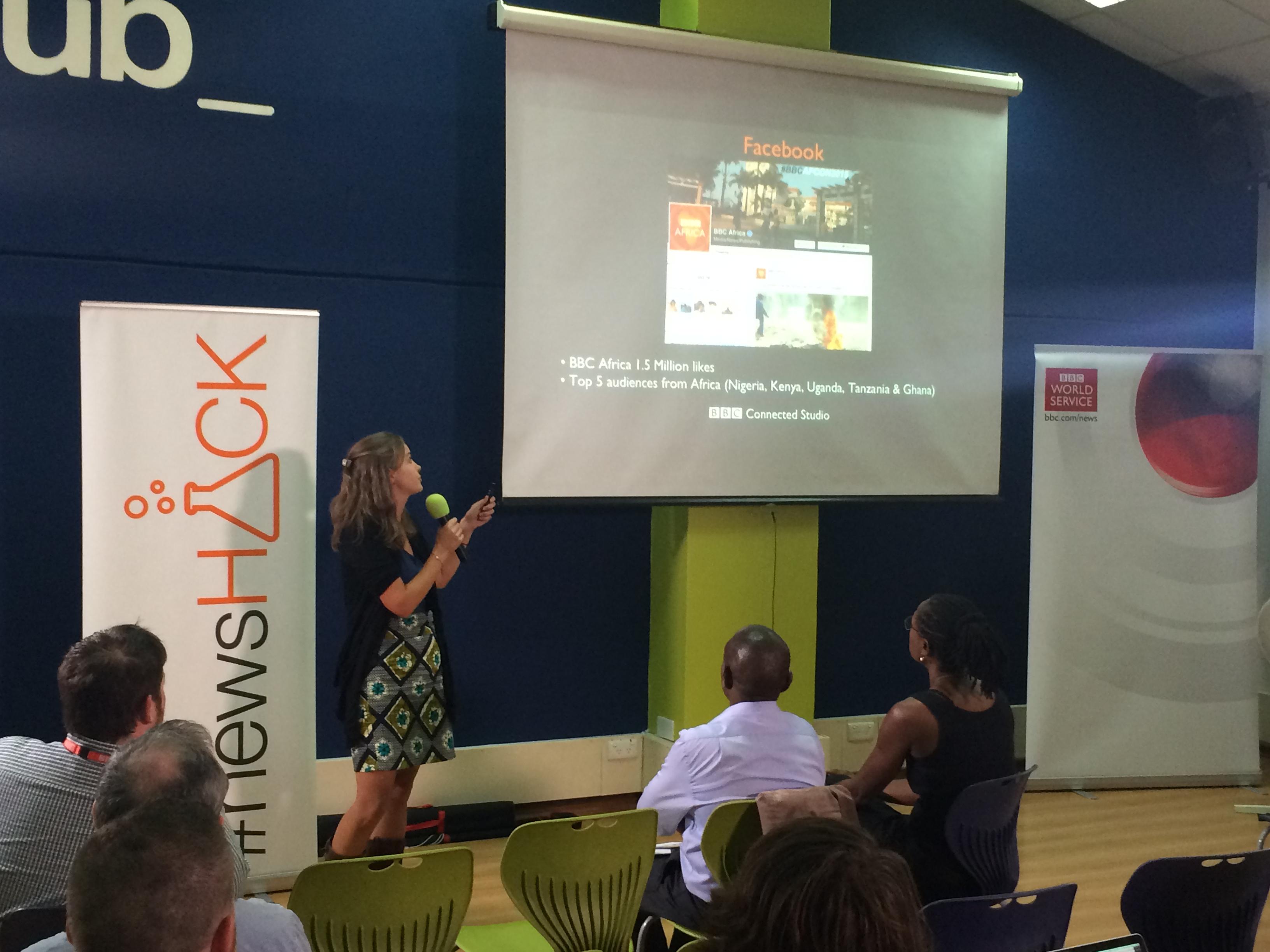 Cynara Vetch at iHub Nairobi, talking about the African and Kenyan Audiences