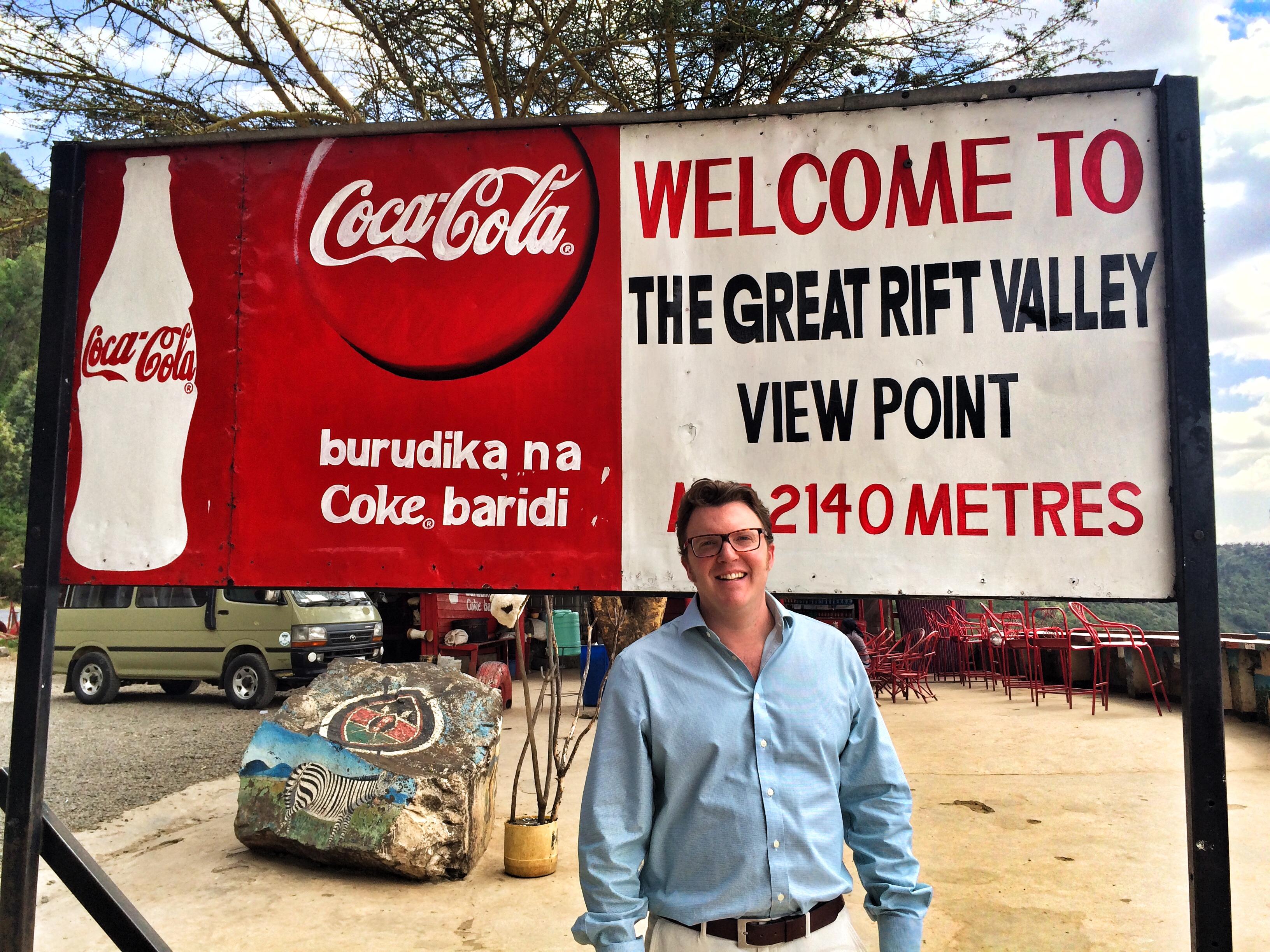Matt Shearer, at a viewpoint over The Great Rift Valley, Kenya, Africa