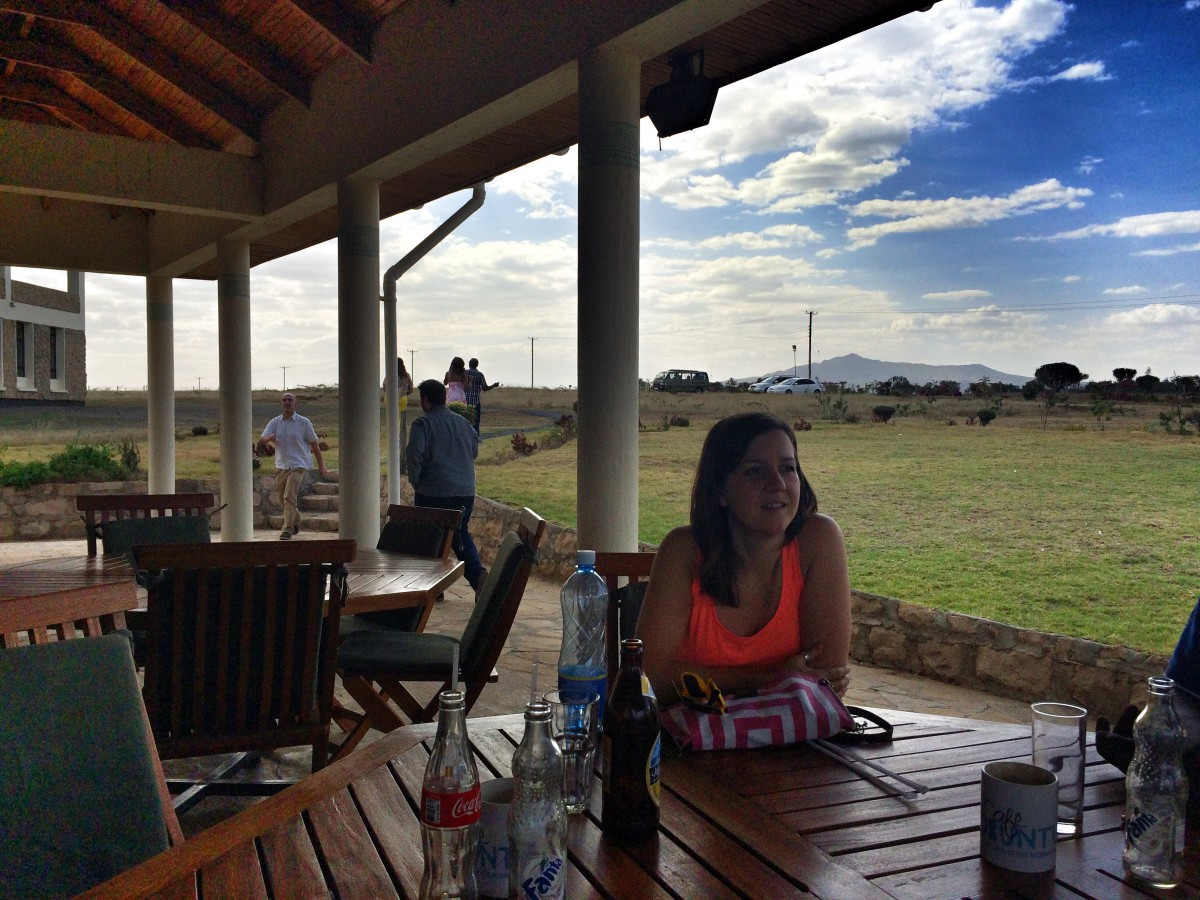 Laura Harrison at Cafe Ubuntu in the Great Rift Valley, Kenya
