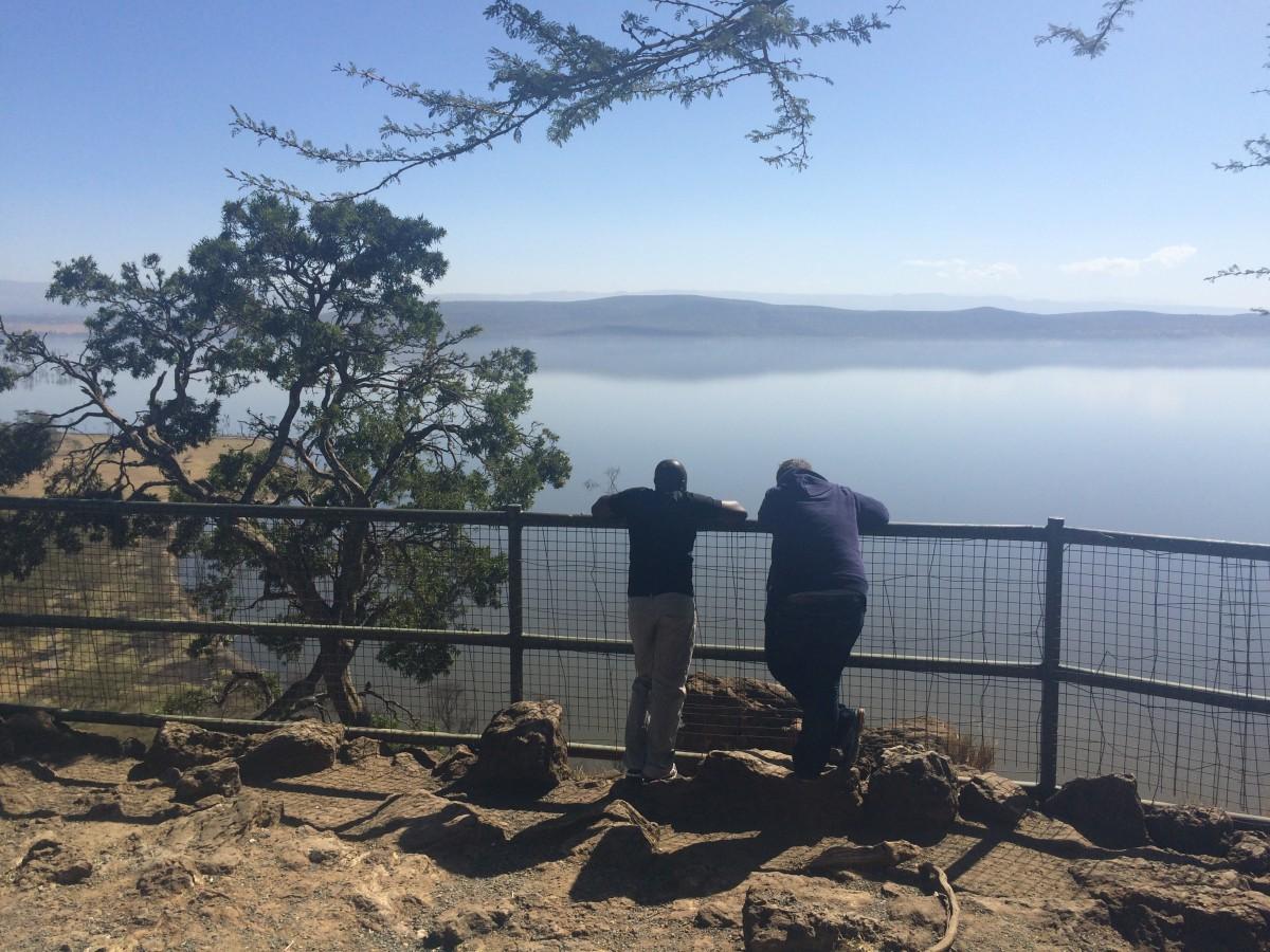 Iain Collins and Sam Kombo at Lake Nakuru, Kenya