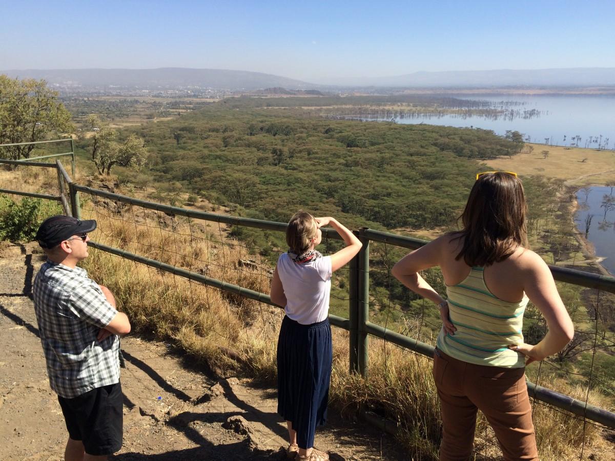 Mark Flashman, Linsey Smith and Laura Harrison at Lake Nakuru, Kenya