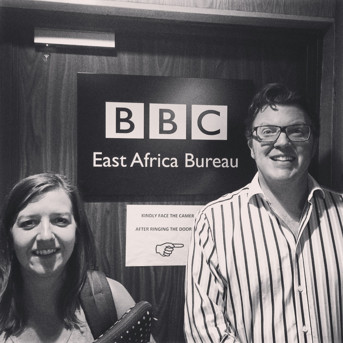 Laura Harrison and Matt Shearer at the BBC East Africa Bureaux, Nairobi, Kenya