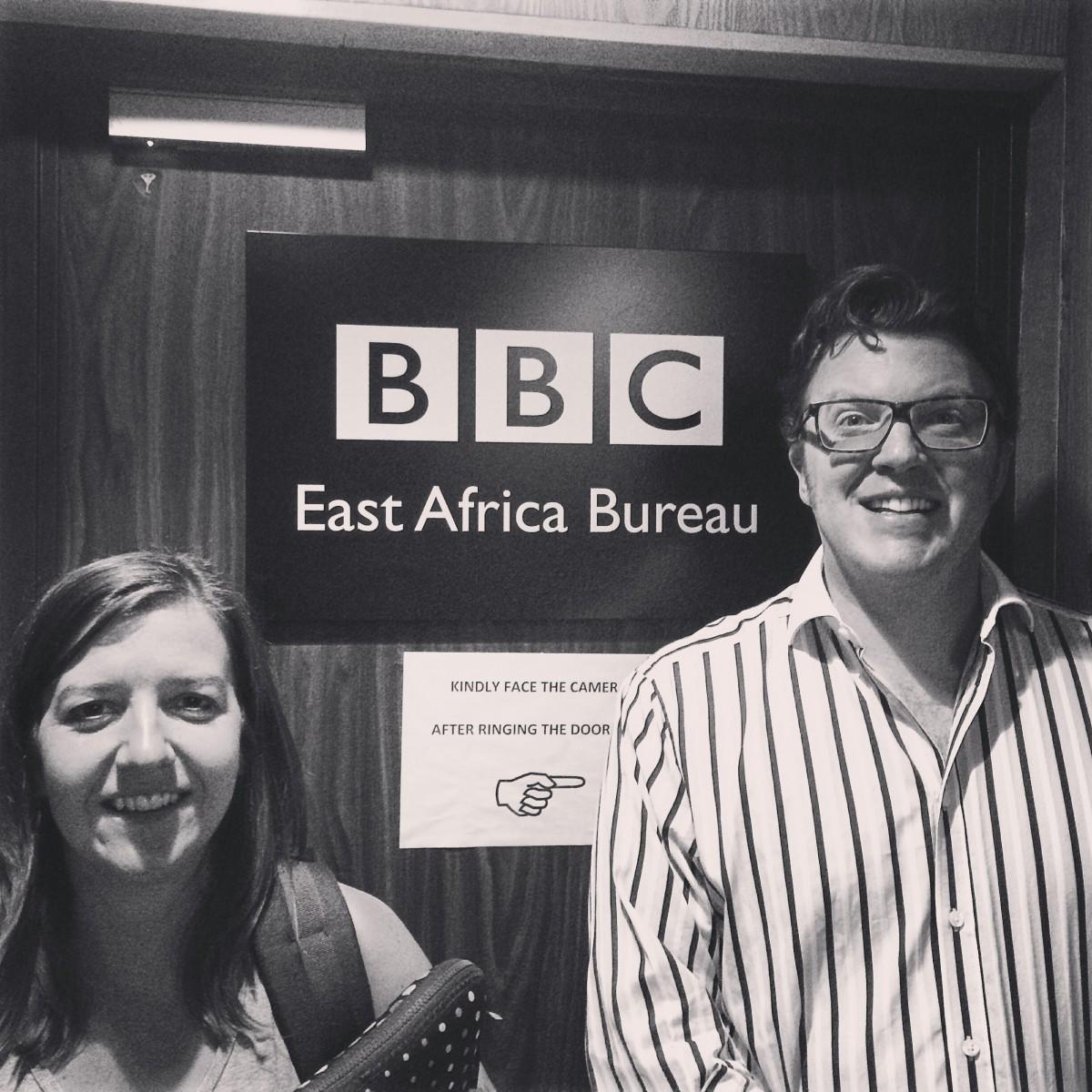 Laura Harrison and Matt Shearer at the BBC East Africa Bureaux, Nairobi, Kenya
