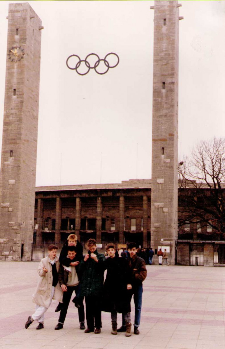 Jules Cork, Scott Black, Ferras Hamza, Mark Bowyer et al in Berlin, 1988.