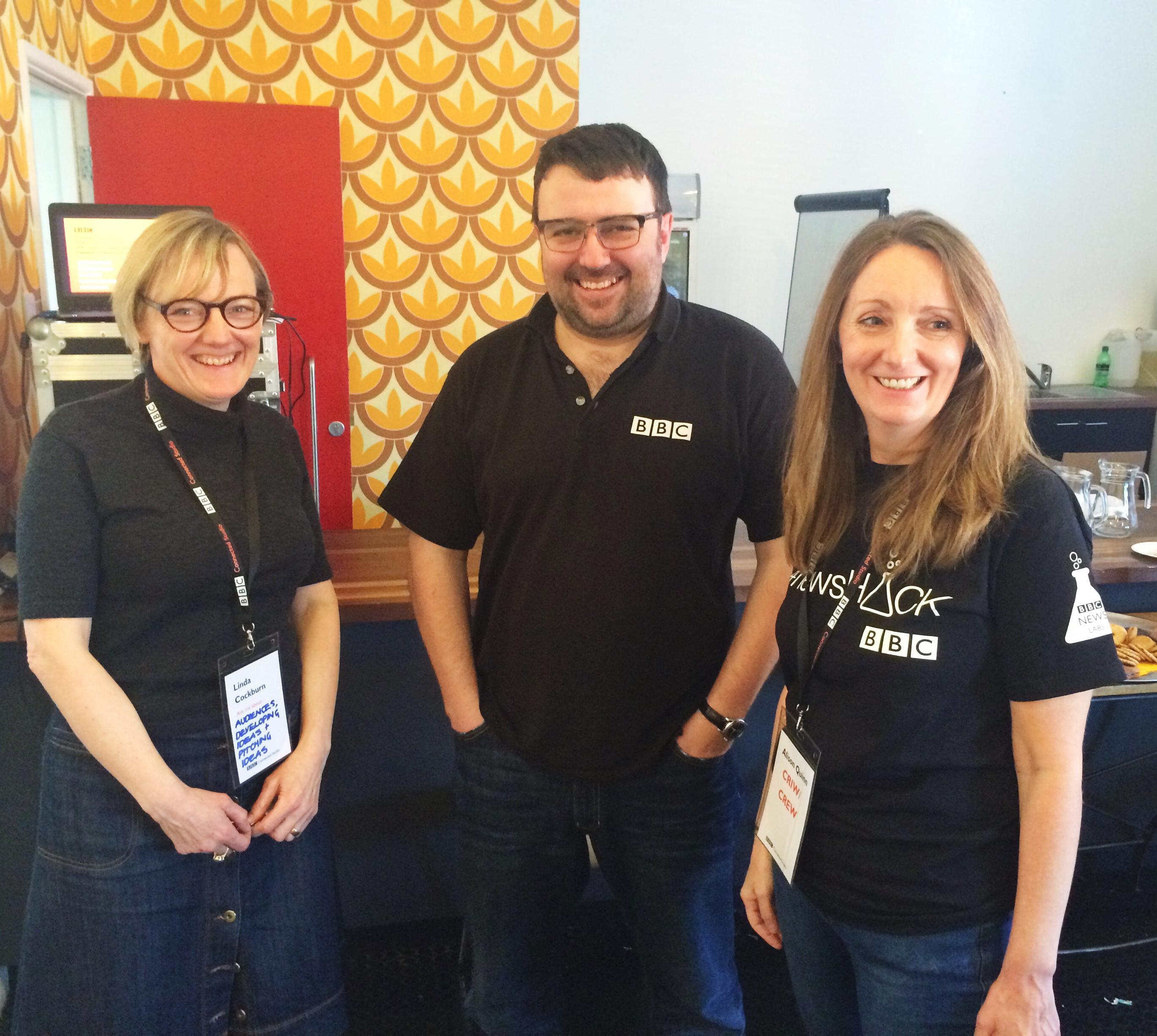 Linda Cockburn, Jeremy Tarling and Alison Quinn in Cardiff at #newsHACK
