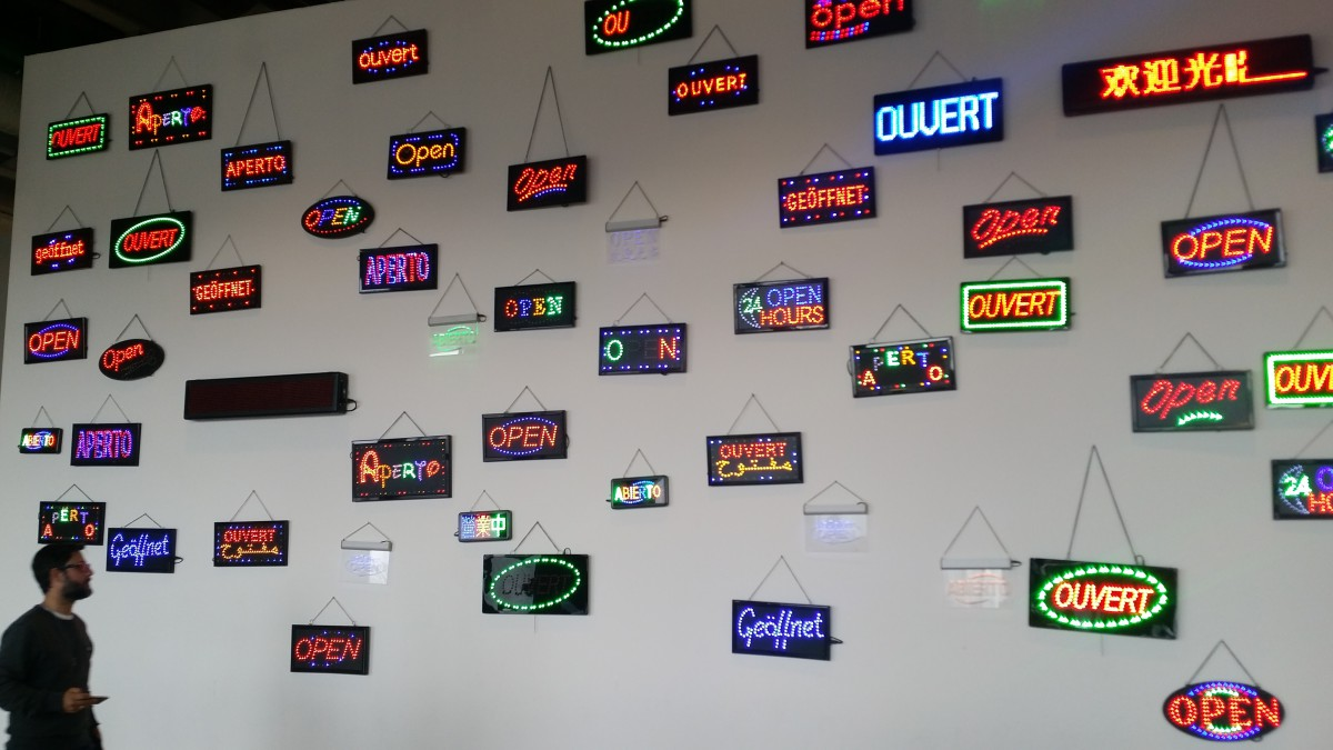 "LED ""OPEN"" signs in lots of different languages - Pompidou Centre"