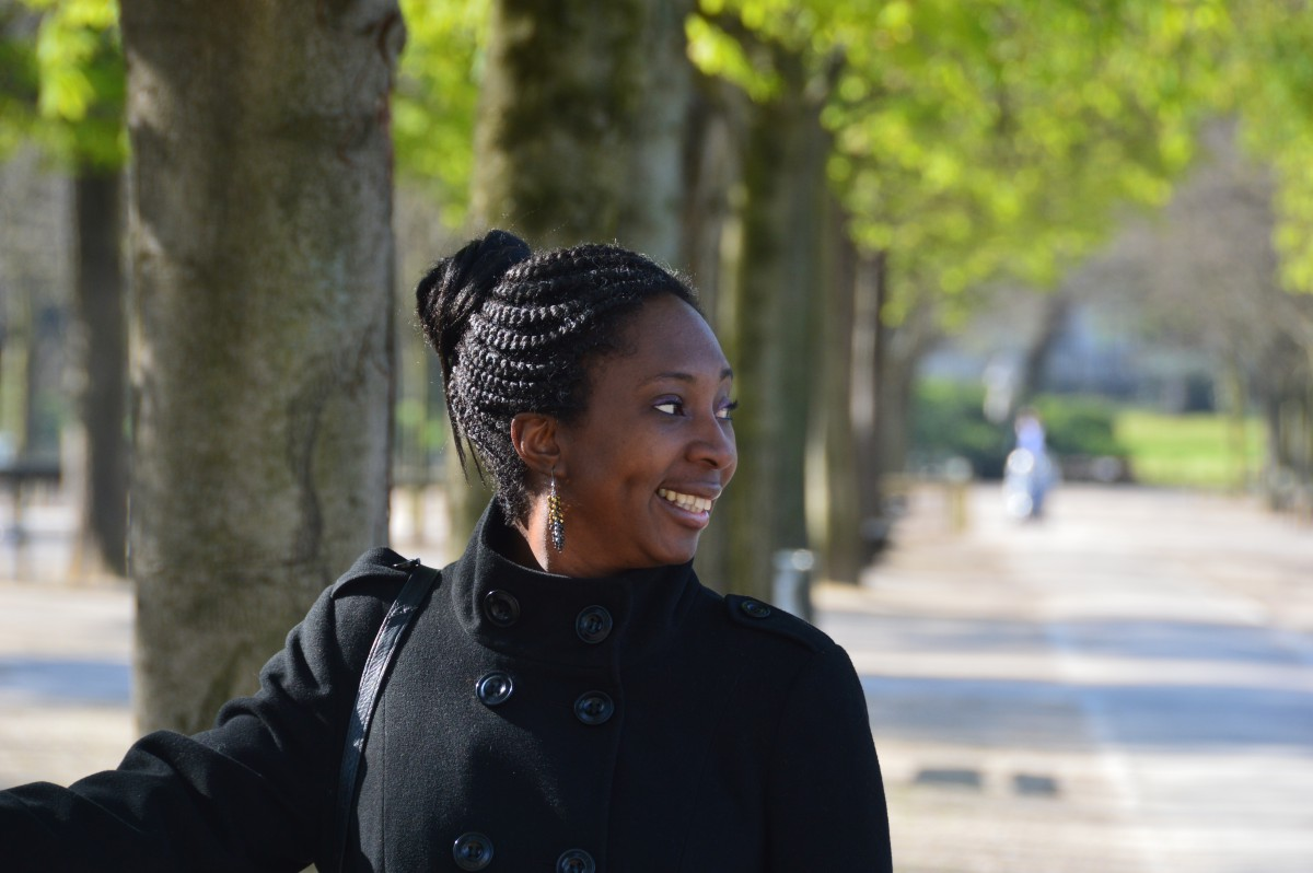 Portrait of Wendy Shearer, in Luxembourg gardens, Paris, France
