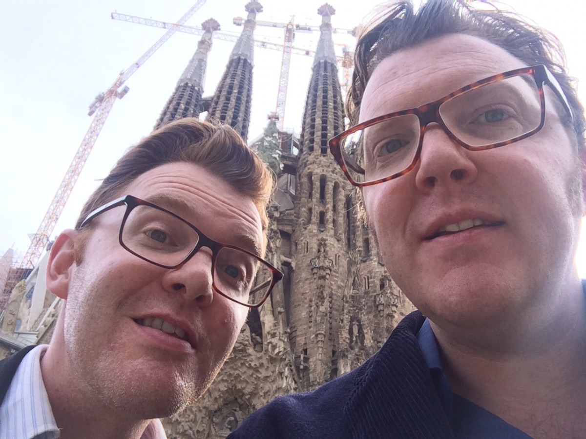 Ed Shearer and Matt Shearer at Segrada Familia - by Gaudi