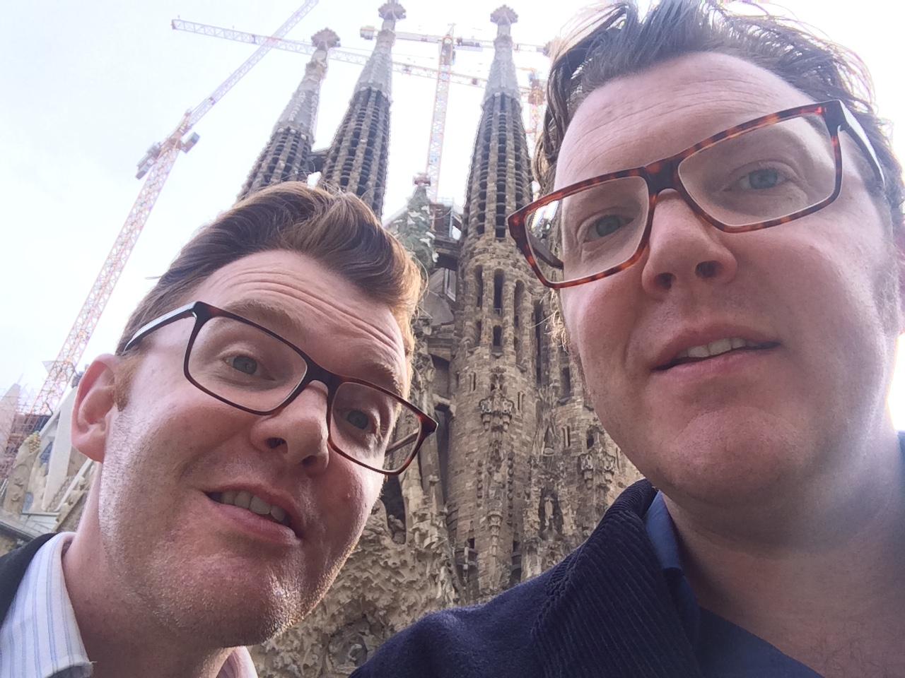Ed Shearer and Matt Shearer at Segrada Familia - by Gaudi