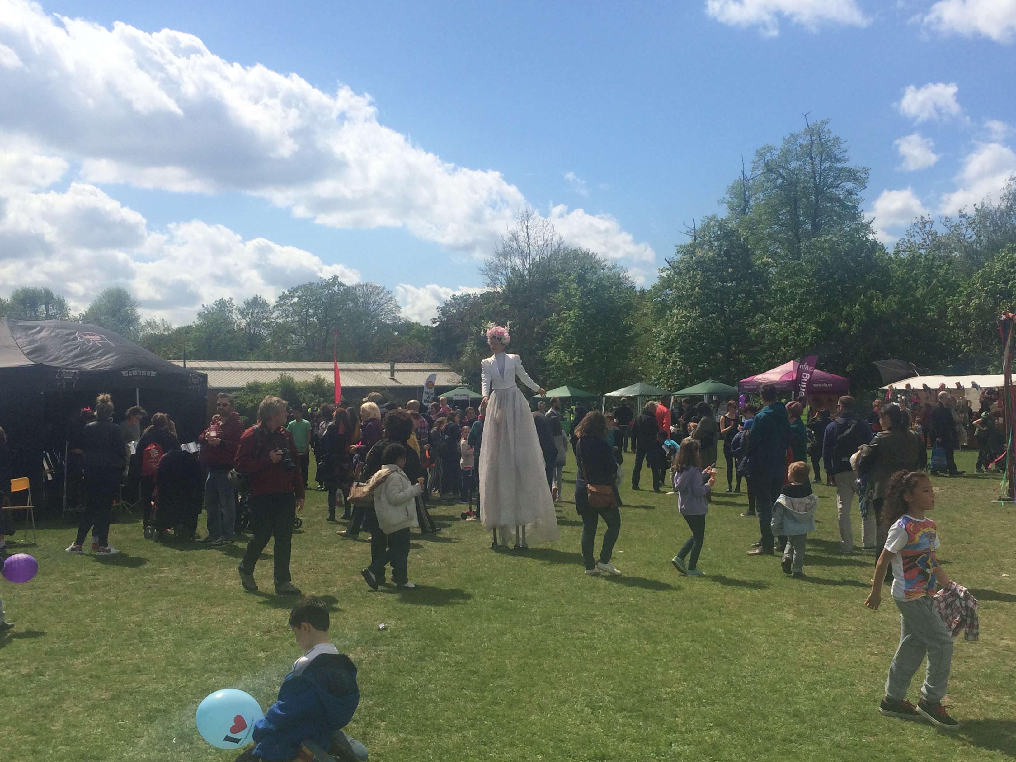 Crazy white dress lady on stilts in Tooting Bec, summer 2015