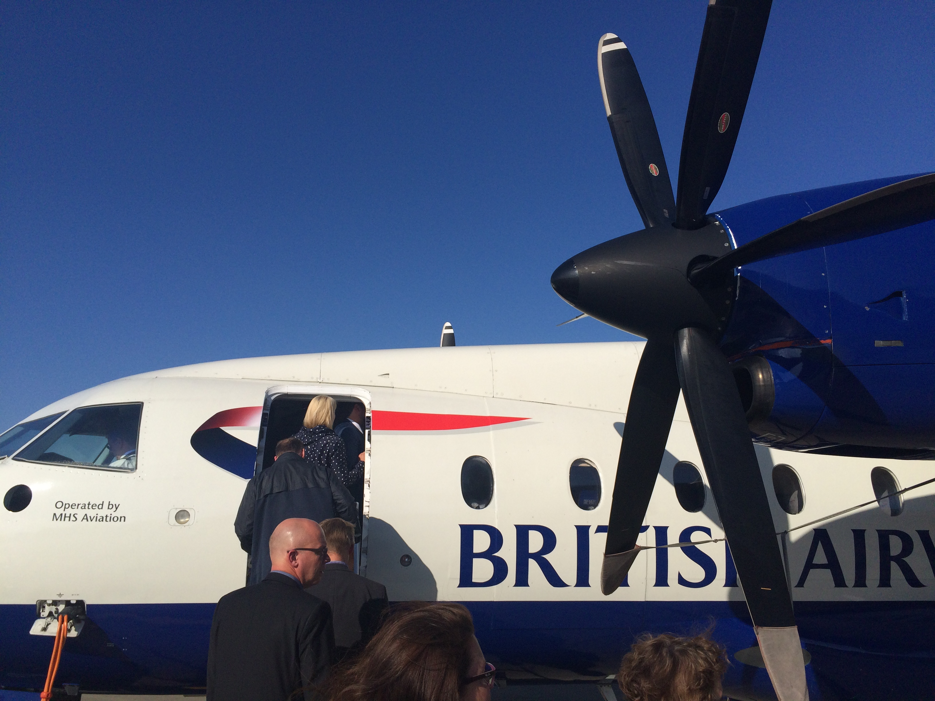 The propeller plane I flew over in.
