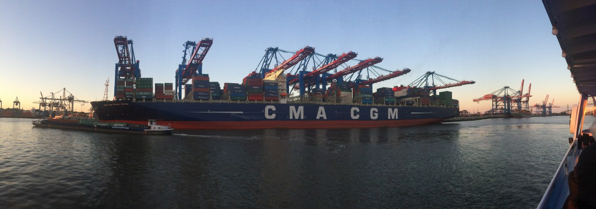 MASSIVE ship in Hamburg Harbour.